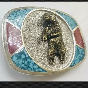 Vtg Navajo M.C. Silver Bear Buckle Turquoise Inlay